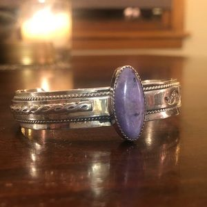 Navajo sterling silver and amethyst cuff bracelet